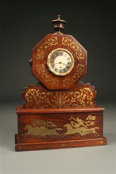 18th Century English Clock, inlaid brass on rosewood with fusee movement, circa 1760. #antique #clock