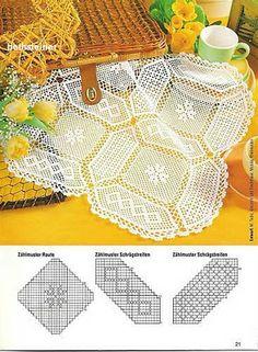 Filethäkeln Tischdecke -  filet crochet doily