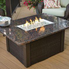 Grandstone Fire Pit Table   Wicker