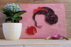 Snow white wall decor, pink disney wall decoration, silhouette string art decor made out of wood by GoodLights  Snow white string art wall decor made out of high quality materials. As a base is used pine wood planks colored in pink shade and waxed with ecological wax.   You can hang it on your wall using two brass hangers which are attached to the backside of decoration or let it rest on the top of your fireplace.