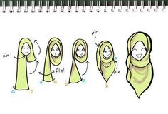 """moonhmz: """" a simple sketch on how I usually wear my hijab. I like it long, especially in the front :) """" 1000 notes! OMG you guyss! My first sketch to reach 1000 notes is this simple sketch of a 'hijab tutorial'. Turban Hijab, Hijab Niqab, Hijab Dress, Mode Hijab, Muslim Dress, Hijab Outfit, Bandanas, Stylish Hijab, Hijab Chic"""