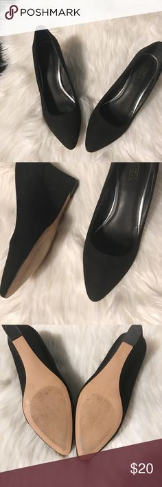 Black suade wedges! Worn once. Very comfortable! Shoes Wedges