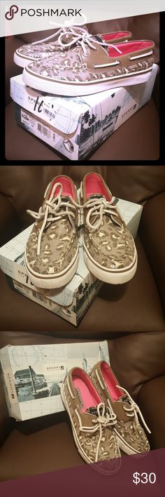 Sperry top-sider Like new sperry top-sider with tan and cream sequin cheetah print.  No flaws, box included. Sperry Top-Sider Shoes Sneakers