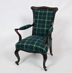 Petite Art Nouveau Armchair custom upholstered in tartan. 36 inches tall, 23.5 inches deep, 17 inch seat height.