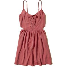 Hollister Lace-Up Cutout Skater Dress ($24) ❤ liked on Polyvore featuring dresses, dresses., red, lace up skater dress, cutout dresses, red lace up dress, red cut-out dresses and smock dress