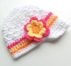 Baby Girl Crochet Hat Crochet Girls Visor Beanie by Karenisa, $22.00