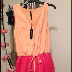 """Walter Baker peach and coral romper Colors more vibrant than photos reflect. I'm 5""""6' and 118lbs in the photo, to give you an idea how it fits, I usually go for size S. W118 by Walter Baker Dresses"""