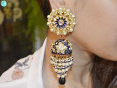 Polki Karan phool With Blue Sapphire, Enamel And Pearl By Golechas