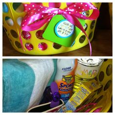 """'Schools out, Summer's here. Thanks for all you've done all year!"""" summer themed baskets I made for my sons teachers as a end of the year gift! They were a hit! ;)"""