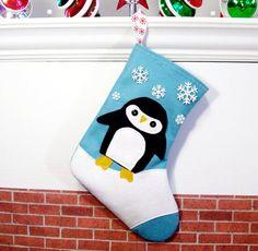 Ice blue penguin stocking