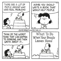 First Appearance: February 22nd, 1984 #peanutsspecials #ps #pnts #schulz #snoopy #lucyvanpelt #people #around #real #problems #write #book #help #worst #happen #someone #beagle #leaves #home www.peanutsspecials.com