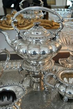 Silver Tea Service Tea Set Kettle Decorating with Antique Silver Find your own… Vintage Silver, Antique Silver, Silver Tea Set, Enchanted Home, Tea Service, Messing, Tea Time, Silver Plate, Silver Table