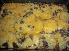 Hamburger Potato Cheese Casserole One of my favorites :) I found that precooking the potatoes a little before baking with everything is easier