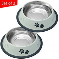 Mr. Peanut's Set of 2 White Painted Food Grade Stainless Steel Dog Bowls, Dishwasher Safe, Bacteria