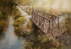 The bridge by Roald Grimsø Bridge, Painting, Art, Art Background, Painting Art, Kunst, Gcse Art, Paintings, Painted Canvas