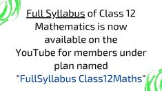 One Month Membership option for #Class12Maths Students is available on YouTube @ashishkumarletslearn . #FullSyllabusWithAssignments #education #homelearning #selfeducation #IITJee #iitjeepreparation #JeeMains #homeschooling #growth #homeeducation #selflearning #class12maths #ncertsolutions #mathstudent #maths #mathematics #grow #personalgrowth #personalizedlearning #selfdevelopment #selfgrowth #ncertsolutions #important #board Deep Learning, Home Learning, Class 12 Maths, Self Development, Mathematics, Homeschooling, Physics, Students, Let It Be