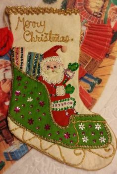 Vintage Christmas Stocking Felt W/Sequins Santa Sleigh Finished Trimmed w Gold  HAD THIS EXACT ONE!  NEVER SEEN IT BEFORE - EXCEPT OURS!!!