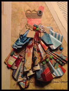 Bright paper dress...crochet trim and beads. By Brenda Henning