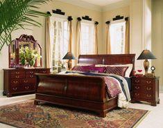 Wood Sleigh Bed, Sleigh Bed Frame, Sleigh Bedroom Set, Sleigh Beds, Bedroom Sets, Bedroom Decor, Master Bedroom, Pine Bedroom, Bedrooms