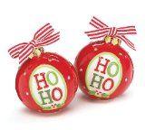 Ho Ho Christmas Ornament Shape Salt And Pepper Shakers Great Holiday Kitchen Decor