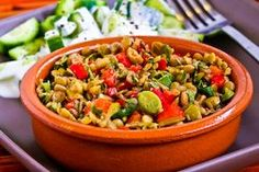 Kalyn's Kitchen®: Recipe for Lentil Salad with Green Olives, Red Bell Pepper, Green Onion, and Greek Oregano