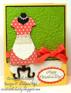 Stampin' Up! Dress Up Mother's Day Card, Christy Fulk, SU! Demo