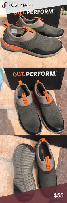 NEW Merrell Moc Slip On Shoes 9 New Merrell Moc shoes in men's size 9.  Brown.  Super lightweight.  Stretchable.  Super comfortable Merrell Shoes Loafers & Slip-Ons