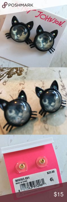 Betsey Johnson Black Cat Stud Earrings Betsey Johnson Black Cat Stud Earrings ~~Crafted in black-coated mixed metal and plastic. Approximate diameter: 4/5 inch.~~  One (1) pair for $15 or Two (2) pairs for $25 Please RESPECT my Items are already being sold at lowest possible prices (to include PM fees). Thank you for shopping my closet! Betsey Johnson Jewelry Earrings