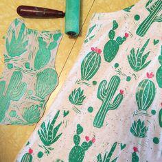 "112 Likes, 16 Comments - Melissa (@melissa_pothier) on Instagram: ""Cactus pattern block  #blockprint #printmaking #linocut #stamp #cactus"""