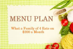 Yes, you can feed a family of 4 with $200/month! Get the #budget-friendly menu: http://www.parents.com/blogs/thrifty-frugal-mom/2012/10/15/must-read/menu-plan-what-our-family-of-4-eats-on-200mo/?socsrc=pmmpin101812GroceryBudget