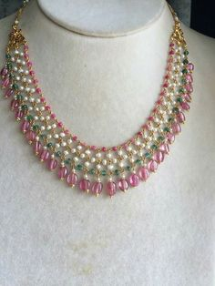 Pearl , ruby and Weald woven necklace