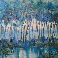 Kangaroo Valley View   Acrylic/Ink on canvas 1m x 1m by Sheryl Miller
