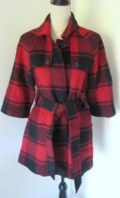 Gap Red Black Plaid Print Wool Coat Size S Small Womens Tie Waist Long #GAP #WoolCoat