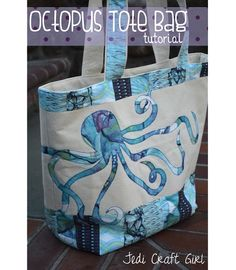 Tutorial: Octopus appliqued tote and matching zippered pouch - this page links to both tutorials ... thermoweb.com/blog/beach-bound-tote-bag-with-blend-fabric/ and http://www.jedicraftgirl.blogspot.ca/2014/02/baby-octopus-zipper-pouches.html