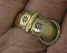 VICTORIAN Buckle Ring, Engraved with Rose cut Diamonds in 18k Yellow Gold