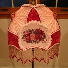 K05 - Victorian Rose Filled Cart Bridge Lampshade By Kerri-Victorian, hand crafted, handmade, handsewn, roses, lady, beads, pearls, glass, sugarbeads, lace, antique, vintage,