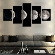 Amazon.com: Cao Gen Decor Art-AA40424, canvas Prints, 5 panels Framed Wall Art Moon Paintings Printed Pictures Stretched for Home Decoration: Posters & Prints