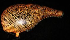 Leather Case water bottle with henna mehndi tribal by Behennaed, www.facebook.com/behennaed