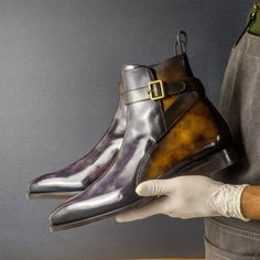 Custom Made Shoes, Custom Design Shoes, Patina Style, Mens Boots Fashion, Buckle Boots, Goodyear Welt, Luxury Shoes, Calf Leather, Chelsea Boots