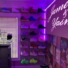 Diy Room Decor For Teens, Cute Bedroom Decor, Room Design Bedroom, Girl Bedroom Designs, Room Ideas Bedroom, Neon Room Decor, Shoe Room, Shoe Wall, Neon Bedroom