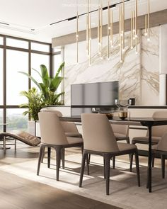 New entry: Modena wood dining table in gray wash - table # . Apartment Interior, Apartment Design, Penthouse Apartment, Style At Home, Home Interior Design, Interior Decorating, Dining Room Design, Elle Decor, Home Fashion