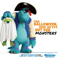 Mike [as a ghost] & Sulley [as a pirate] (Drawing by Pixar) Monster University Party, Monsters Inc University, Halloween Clipart, Disney Halloween, Disney Movie Rewards, Monsters Ink, Halloween Arts And Crafts, Fall Crafts, Disney Pixar