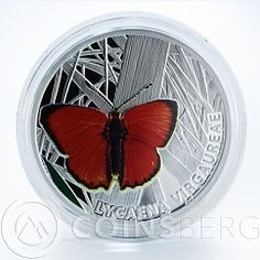 Niue1 dollar butterflie Scarce copper Lycaena Virgaureae silver color coin 2010