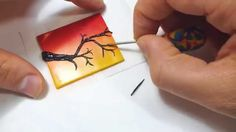 Tiny Canvas Polymer Clay Tutorial Sunset Silhouette Scene Birds on Branc. Polymer Clay Painting, Polymer Clay Projects, Polymer Clay Jewelry, Polymer Clay Miniatures, Polymer Clay Creations, Polymer Clay Embroidery, Clay Birds, Ceramic Clay, Clay Tutorials