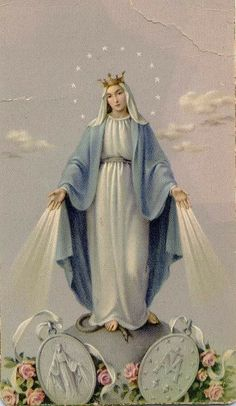 Blessed Mary conceived without sin, pray for us who have recourse to thee. The Miraculous medal. Jesus Mother, Blessed Mother Mary, Blessed Virgin Mary, Religious Images, Religious Icons, Religious Art, Catholic Prayers, Catholic Art, Madonna