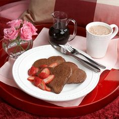 Kid time! Cocoa Heart Pancakes w/strawberries ~from Disney