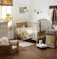 2015 Lion embroidery baby bedding set 100% bamboo fiber high quality bed sheet branded