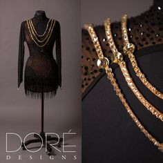 Black Latin w/ Gold Stoned Strings on Bodice & Gold Belt & Black Beaded Fringe on Skirt