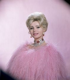 Zsa Zsa Gabor wearing vulture feathers and jewels for a Dune's Club appearance in Las Vegas, Nevada 1961.