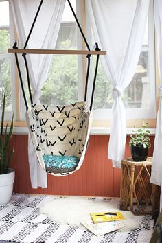 Create a reading corner with this hammock chair.